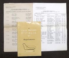 46° Gran Premio D'Italia Di Formula 1 - Autodromo Di Monza 1975 - Regolamento - Altri