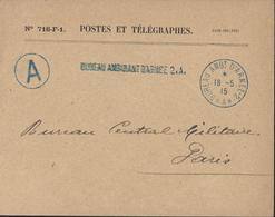 Guerre 14 Cachet Bureau Ambulant D'armée 2 A 18 5 15 + Cercle A + Linéaire Bureau Ambulant D'armée 2 A Env. PTT 716 FI - Guerre De 1914-18