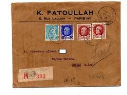 Lettre Recommandée Paris 68 Sur Petain  + Surcharge Croix Rouge S N - Postmark Collection (Covers)