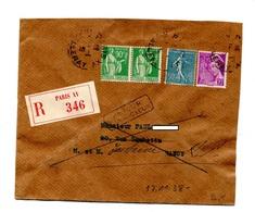 Lettre Recommandée Paris XV Sur Semeuse Mercure + Retour  Nancy + Mention - Postmark Collection (Covers)