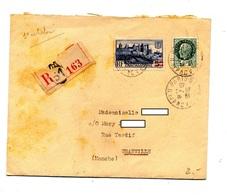 Lettre Recommandée Paris 51 Sur Petain Carcassonne Surchargé - Postmark Collection (Covers)