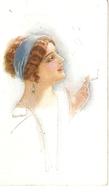 """Usabal. Lady Smoking A Cigarette""  Nice Antique Postcard - Usabal"