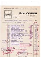 Facture 1950 Travaux D'électricité Michel Coulon, 7 Rue Saint-André, Lille - Electricity & Gas