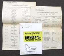 Gara Internazionale Di Formula 3 - Autodromo Monza 1975 - Regolamento - Altri