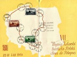 1948 Poland Cycling Tour Souvenir Card / TOUR DE POLOGNE - Covers & Documents
