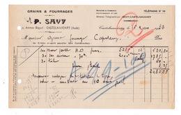 Facture 1933 Grains Fourrages P. Savy, 2 Avenue Riquet, Castelnaudary, Aude - Agriculture
