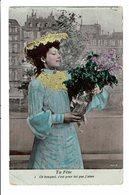 CPA - Carte Postale-Belgique -Jeune Femme Tenant Un Bouquet De Fleurs 1906-VM4672 - Femmes