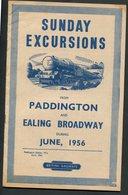 June 1956 British Railways Sunday Excursions. Paddington & Ealing Broadway. Complete 24 Page Brochure.timetable - Programme