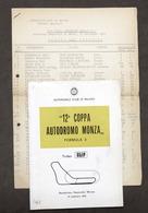 Automobilismo - 12^ Coppa Autodromo Monza - Formula 3 - 1965 - Regolamento - Altri