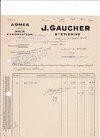 Facture 1922 Armes Gros Exportation J. Gaucher, Saint-Etienne - Other