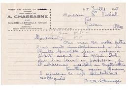 Courrier 1948 Vins En Gros A. Chassagne, St-Merd-la-Breuille, Creuse - Food
