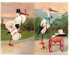 2 Cartes Gaufrées . Cigognes Avec Bébé . - Birds