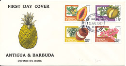 Antigua & Barbuda FDC 11-7-1985 Definitive Issue Complete Set Of 4 With Cachet (1 Of The Stamps Is Missing A Corner) - Antigua And Barbuda (1981-...)