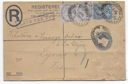 "1900 - GB - ENVELOPPE ENTIER RECOMMANDEE Avec PERFORES (PERFIN) ""RB"" + MARQUE ""LATE FEE 2d"" => LYON - 1840-1901 (Regina Victoria)"