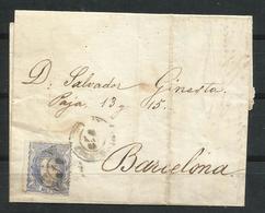 España. 1870. Envuelta Dirigida A Barcelona. - 1870-72 Regencia