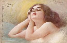 """Guarzon. Pretty Girl.Dreaming"" Nice Antique Italian Postcard - Mujeres"