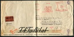 1941 Prag Tydlitat Butter Merchant Franking Machine Express Censor Cover - Copenhagen Denmark Via Hamburg Eilbriefstelle - Covers & Documents