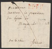 """Précurseur - LAC Datée D'Anvers 30 Janvier 1809 + Obl Linéaire """"P93P ANVERS"""" Vers Mayen (Allemagne) Par Le Rhin / Franco - 1794-1814 (Période Française)"""