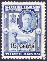SOMALILAND PROTECTORATE 1951 KGVI 15c On 3a Bright Blue SG127 FU - Somaliland (Protettorato ...-1959)