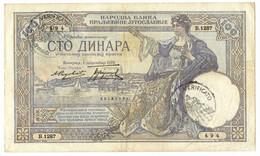 100 DINARI OCCUPAZIONE ITALIANA DEL MONTENEGRO 01/12/1929 BB/BB+ - [ 3] Military Issues