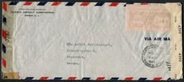 1941 USA Perth Amboy Barber N.J. Barber Asphalt Corp. Franking Machine Airmail Censor Cover - Stockholm Sweden - United States