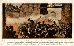 LUCHA Y DEFENSA EN LA PUERTA  DEL PARQUE DE MADRID -   Militär Militair Military Les Militaires - Militares
