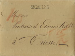 1833 St.GALLEN Bf M. Inhalt Röteltaxe N.Trieste/Ank.Stempel - ...-1845 Préphilatélie