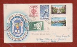 OLIMPIADI DI MELBOURNE  1956 - BUSTA CON SERIE COMPLETA ED ANNULLO SPECIALE STADIO OLIMPICO - Olympic Games