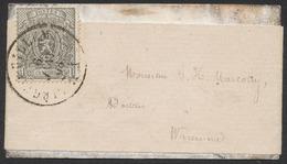 """Petit Lion Dentelé - N°23 Sur Petite Bandelette Obl Double Cercle """"Liège (Guillemins)"""" (1868) Vers Waremme / 1ctm - 1866-1867 Petit Lion"""