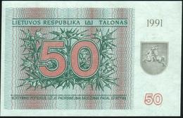 LITHUANIA - 50 Talonas 1991 {Lietuvos Respublika} {With Text On Lower Front} UNC P.37 B - Litouwen