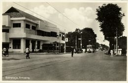 Indonesia, JAVA SOERABAIA, Simpang, Tram Street Car (1920s) Postcard - Indonesië