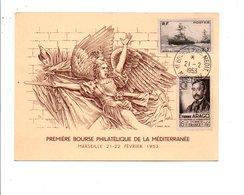 OBLITERATION PREMIERE BOURSE PHILATELIQUE DE LA MEDITERRANEE à MARSEILLE 1953 - Commemorative Postmarks