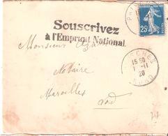 Courrier Avec Marque SOUSCRIVEZ A L'EMPRUNT NATIONAL Oblitéré PRISCHES NORD - Marcophilie (Lettres)