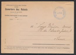 Administration Des Postes - Ouverture Des Rebuts (Z301) 17/9/46 Expédié Vers Namur (Avocat). - Documents De La Poste