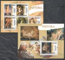 T499 2009 S.TOME E PRINCIPE ART PINTURA DUVAL ALLORI COSIMO BOUCHER 1BL+1KB MNH - Arte