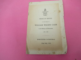 Order Of SQervice  At The Burial Of WILLIAM WILSON CASH: Lord Bishop Of WORCESTER/ Worcester Cathedral/1955       PGC349 - Décès