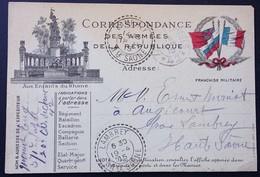 Carte De Franchise Militaire Illustration MONUMENT AUX ENFANTS DU RHÔNE LYON Vers Augicourt Avril 1915 - Marcophilie (Lettres)