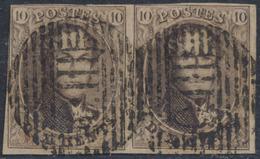 """Médaillon - N°10 En Paire Obl Ambulant """"O. III"""" çàd Ouest N°3. Belle Frappe ! - 1858-1862 Médaillons (9/12)"""