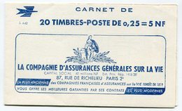 RC 13040 FRANCE N° 1263-C3 CARNET DECARIS S. 6-62 COUVERTURE COMPAGNIE D'ASSURANCES TB - Markenheftchen