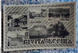 Saluti A Grande Velocità Da Civitavecchia 1950 VIAGGIATA - Stazioni Con Treni
