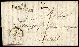 """LOZERE 1828 """"46 / LANGOGNE"""" (38x11) En Noir (Cote 80€) Sur Lettre Datée De Mercoire Et Adressée à Orléans - Marcophilie (Lettres)"""