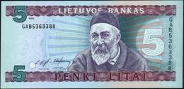 LITHUANIA - 5 Litai 1993 {Lietuvos Bankas} AU-UNC P.55 - Lituania