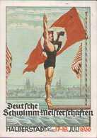 Deutsche Schwimm-Meisterschaften In Halberstadt 1936, Propaganda, Festpostkarte, Drittes Reich - Weltkrieg 1939-45