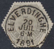 """Télégraphe - N°TG8 Obl Simple Cercle """"Elverdinghe"""" (1891). TB - Télégraphes"""