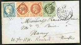 Affranchissement Tricolore De Sept. 1871 N°25 / 26A / 37. S/ Lettre Obl GC + C-à-d Gare De Bar Le Duc / Bureau De Passe - 1863-1870 Napoléon III Con Laureles