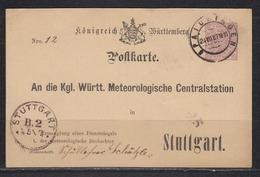 Württemberg Behördenganzsache D.Meteorologische Centralstation MiNo. DPB 14 Von Spaichingen 1897 Nach Stuttgart (100.-) - Wuerttemberg
