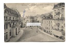 Montreux - Place De La Banque Et Avenue Des Alpes - Postcard Used In 1913 - VD Vaud