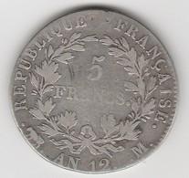 5 FRANCS AN 12 M    EN ARGENT  - 019 - 1789-1795 Period: Revolution