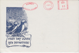 #15 Great Britain Lundy Puffin FDC Puffin Bust Definitives 1974 FREE UK P+P !SALE HALF PRICE! - Local Issues