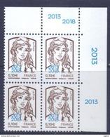 Marianne De Ciappa 0,10 Surcharge Paris Philex 2018 Coin De Feuille De 4 TP En Haut à Droite - 2013-... Marianne De Ciappa-Kawena